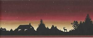 Wallpaper-Border-Lodge-Log-Cabin-Moose-Sunset-Silhouette-Stars-at-Night