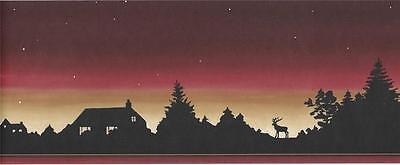 Crewcut Designs Wallpaper Border BV021244B Sunset Silhouette Moose Lodge 5yds