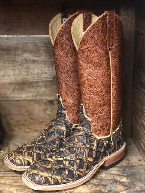 Anderson Bean Women's Rust Big Bass & Perfect Tan Tooled Square Toe Boots 320153