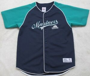Seattle-Mariners-Baseball-Jersey-Shirt-True-Fan-Polyester-Blue-XL-16-18-Kids-Top