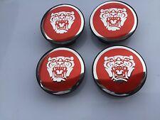 NEW JAGUAR SET OF 4 RED JAG II WHEEL HUB CAPS LOGO RIM 59MM COVER EMBLEM CAP