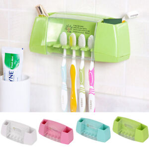 Self-adhesive-2-Toothpaste-5-Toothbrush-Holder-Wall-Mount-Stand-Organiser-Set-UK
