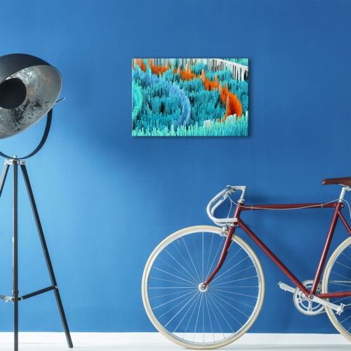 ZAB1668 Blue Orange Teal Cool Modern Canvas Abstract Wall Art Picture Print