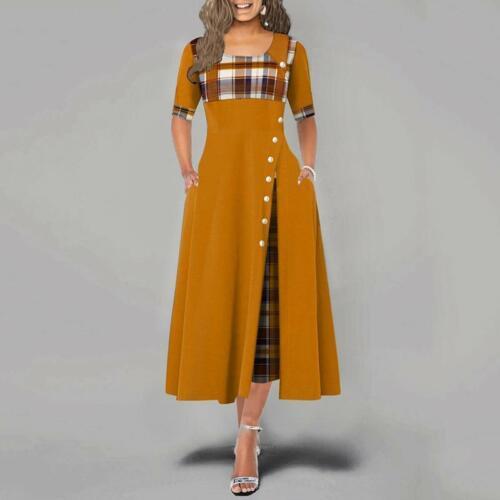 Women Irregular Plaid Print Button Maxi Half Sleeve Round Neck Party Dresses SZ
