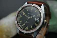 Vintage Westclox Calendar Black Dial Wind Up 17 Jewel WR Mens Diver Wrist Watch
