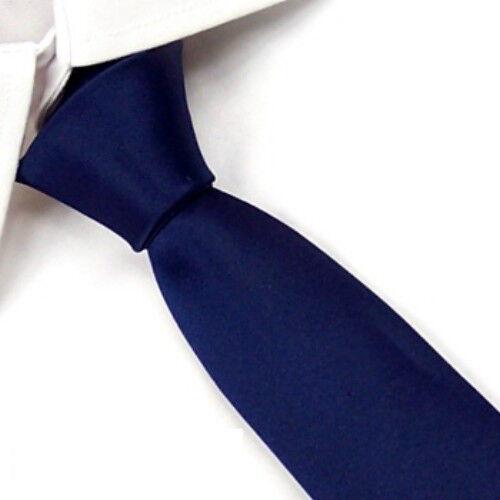 Men's Navy blue Wedding Solid Slim Skinny Classic Neck Tie Plain Necktie SK04
