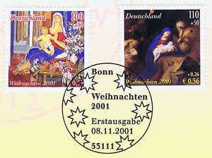 BRD-2001-Weihnachten-Nr-2226-2227-mit-Bonner-Ersttagssonderstempel-1A-1707