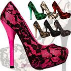 Scarpe donna decollete PIZZO tacchi alti decoltè pumps high heels 3976-2A
