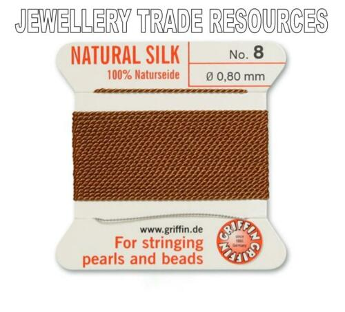 CORNELIAN SILK STRING THREAD 0.80mm FOR STRINGING PEARLS /& BEADS GRIFFIN SIZE 8