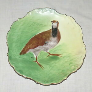 Limoges-LDBC-Flambeau-France-Hand-painted-Signed-10-inch-Quail-Plate