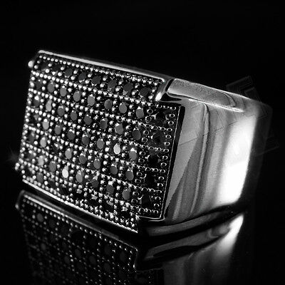 18K Black Gold Iced Out Hip Hop Wedding Band Bling MICROPAVE CZ Pinky Ring