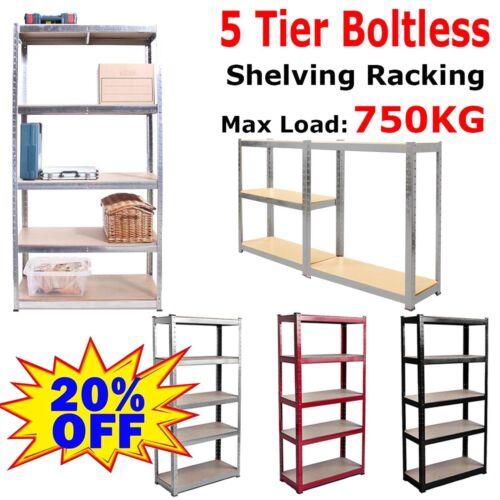 Garage Shelving Racking Heavy Duty Steel Boltless Warehouse Unit 5 Tiers 70//90cm