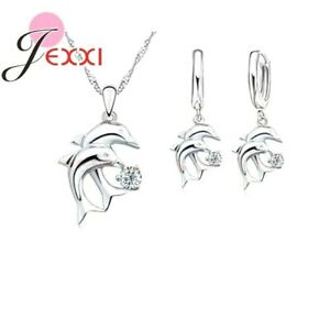 925-Sterling-Silver-Dolphin-CZ-Crystal-Pendant-Necklace-and-Earring-Set-Gifts-UK
