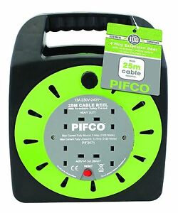 PIFCO-4WAY-25M-CABLE-EXTENSION-REEL-LEAD-MAINS-SOCKET-HEAVY-DUTY-ELECTRICAL
