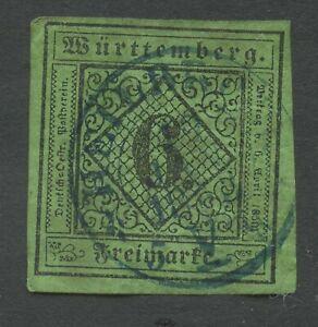 Old-Germany-Wurttemberg-1851-Mi-3a-Iia-Postmarked-Sh-scan