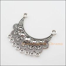 2Pcs Tibetan Silver Tone 2-8 Moon Flower Charms Pendants Connectors 42x46mm