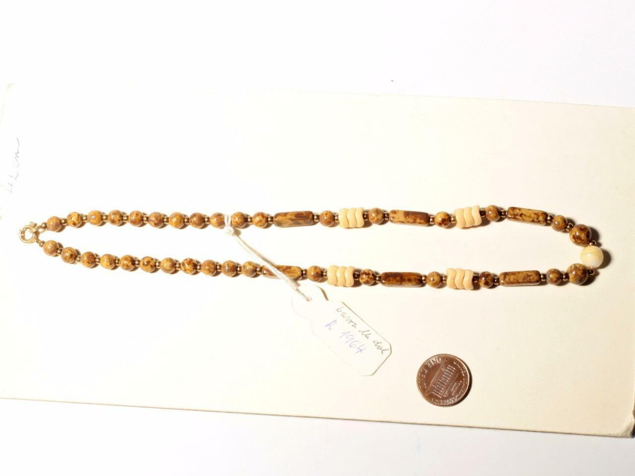Marble Necklace Caramel Necklace Beaded Necklace Layered Necklace Vintage Necklace Bohemian Necklace Taupe Marble Czech Beads Necklace