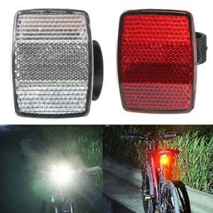 White UK Handlebar Mount Safe Reflector Bicycle Bike Front Rear Warning Red