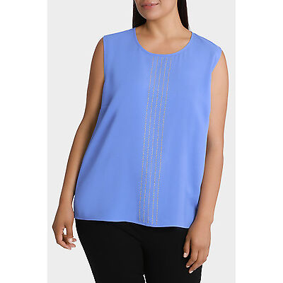 NEW Basque Woman Stud Panel Extended Sleeve Top Cornflower