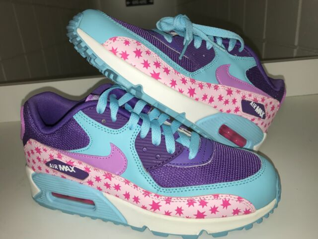 Nike Air Max 90 PREM Mesh GS Stars Youth Sz 6 Running Shoes PinkBlue 724875 600