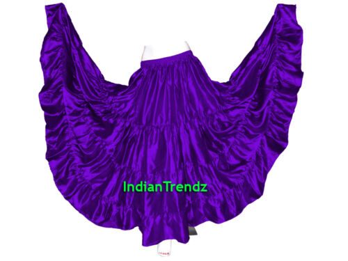 Satin 25 Yard Tiered Gypsy Skirt Belly Dance Tribal Ruffle Costume Jupe Flamenco