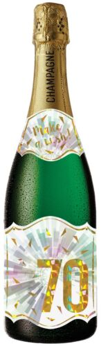 70TH BIRTHDAY PASTEL BURST - PC-0210-059 Pictura Champagne Bottle Sound Card