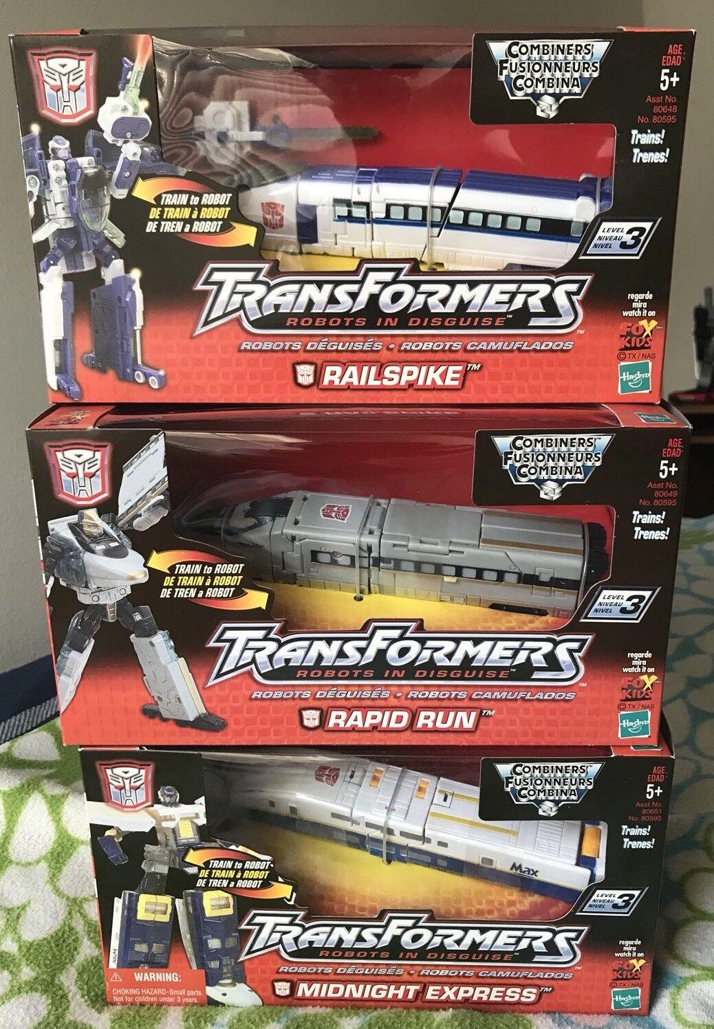 Transformers Rid trenes todos 3 sin usar y en caja sellada 2001 Rail Racer-Midnight Express, Railspike