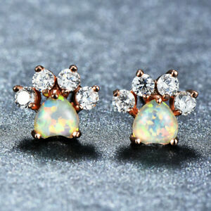 Cat-Claw-White-Fire-Opal-White-Topaz-Gems-Rose-Gold-Plated-Stud-Hook-Earrings