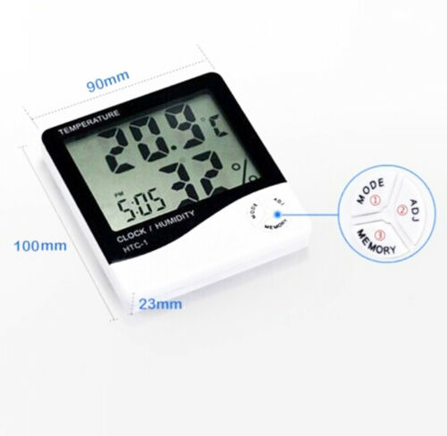 Thermometer Hygrometer Weather Station Temperature Humidity Desk Alarm Clock