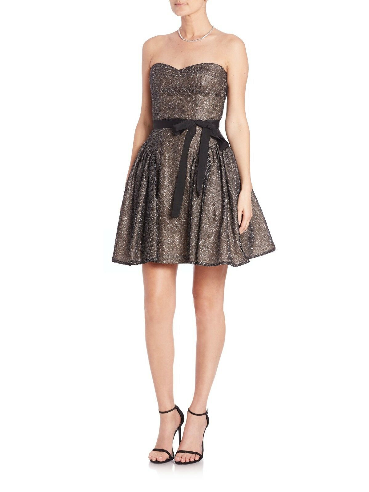 BCBGMAXAZRIA damen schwarz Kimmy Ruffled Metallic Lace Dress NWT Größe 6 MSRP  448