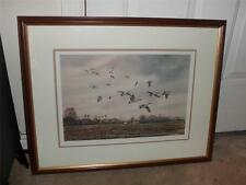 GEESE FLYING FRAMED MATTED PICTURE NED Ewell SIGNED NUMBERED