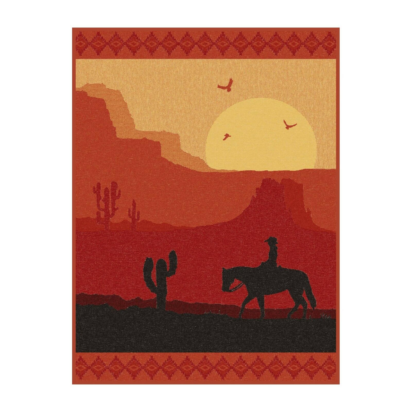 IBENA Country Western Woven Cotton Blend Throw Blanket 'Sundown in the Desert'