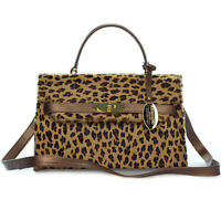 Giordano Italian Made Leopard Print Cowhide & Bronze Leather Structured Handbag