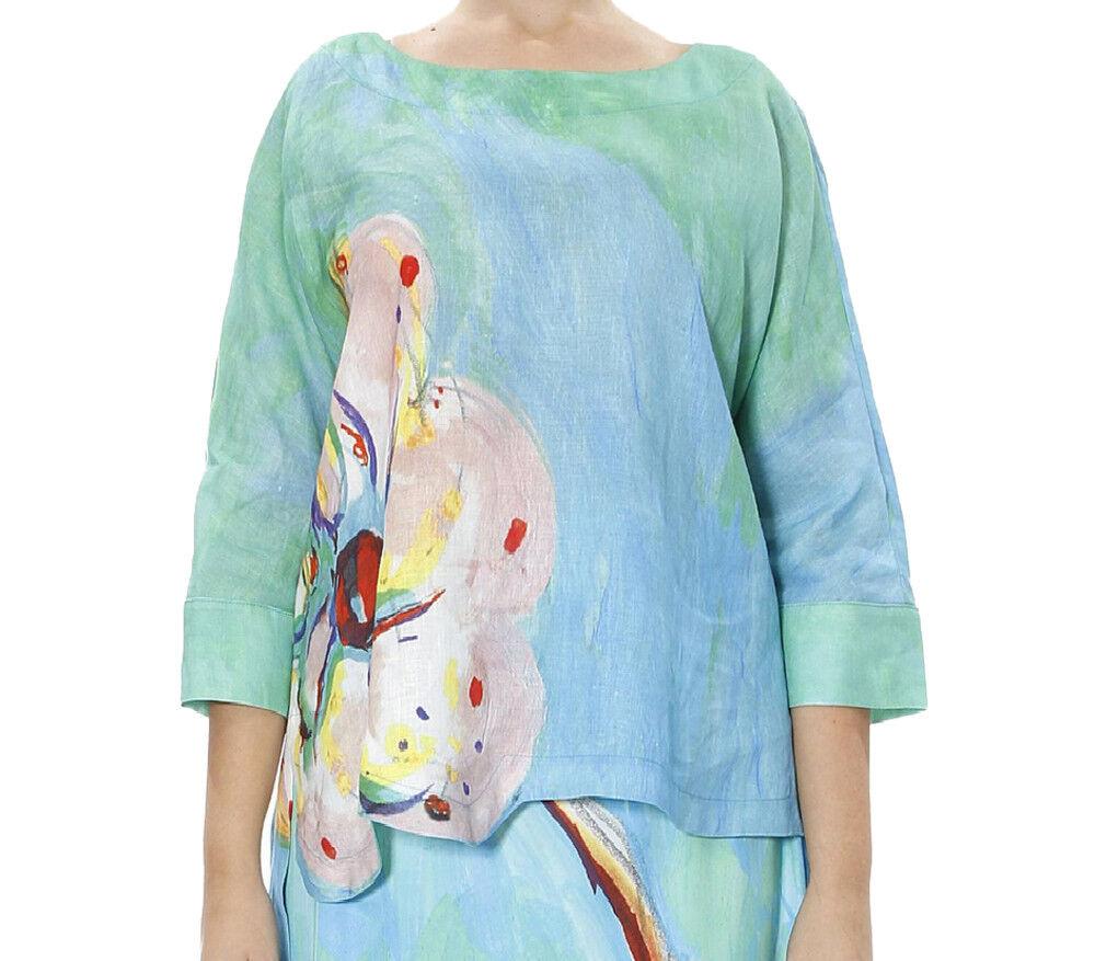 Marina Rinaldi Para Mujer De azulsa  De Lino Floral MultiColor Flou  905 Nuevo con etiquetas