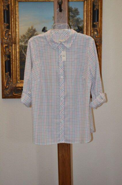 TALBOTS Women's Roll Tab Long Sleeve Cotton Blouse Multi Color SZ 1X NWT $74.50