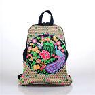 Embroidered Floral Travel Backpack Canvas Casual Satchel Bookbag School Bag