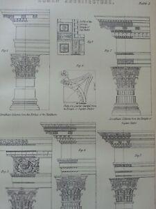 ANTIQUE-PRINT-C1870-039-S-ROMAN-ARCHITECTURE-COLUMN-PILLARS-CORITHIAN-TEMPLES