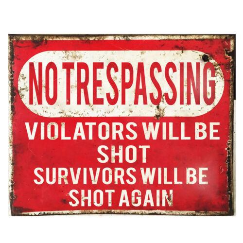 No Trespassing Shot Warning Vintage Metal Tin Signs Garden Wall Plaque 30cmx20cm