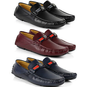 new product cdbf1 eb355 Details about Mens Slip On Designer Leather Loafers Driving Casual Shoes  Smart Moccasin Size