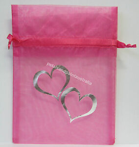 10-x-Organza-Bags-For-Jewellery-Wedding-Gift-Bag-17x12-5cm-Pink-amp-Silver-Hearts