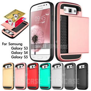 Black-Rugged-Matte-Hard-Wallet-Card-ID-Case-Cover-For-Samsung-Galaxy-S3-S4-S5-V