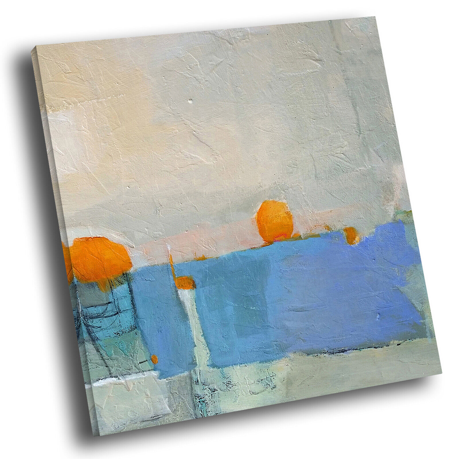 Blau Orange Weiß Square Abstract Photo Canvas Wall Art Large Picture Prints
