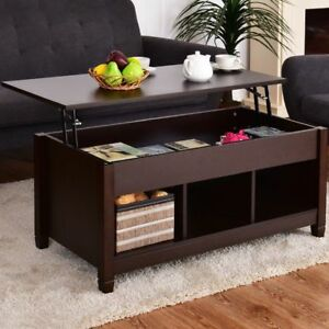 Image Is Loading Wood Coffee Table Storage Lift Top Lower Shelf
