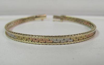 Drop Dead Gorgeous 14kt Tricolor Gold Diamond Cut Edge Link Bracelet 7 R4719