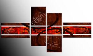 LARGE BROWN ORANGE ABSTRACT CANVAS ART PICTURES SPLIT MULTI 4 FOUR PANEL 146cm