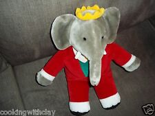 Vintage GUND Babar the King Plush Elephant Crown Red Suit 1988 plush doll Figure
