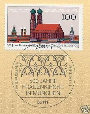 Brd 1994: Frauenkirche München Nr. 1731 Mit Dem Bonner Ersttagsstempel! 1a! 1603 Hochglanzpoliert