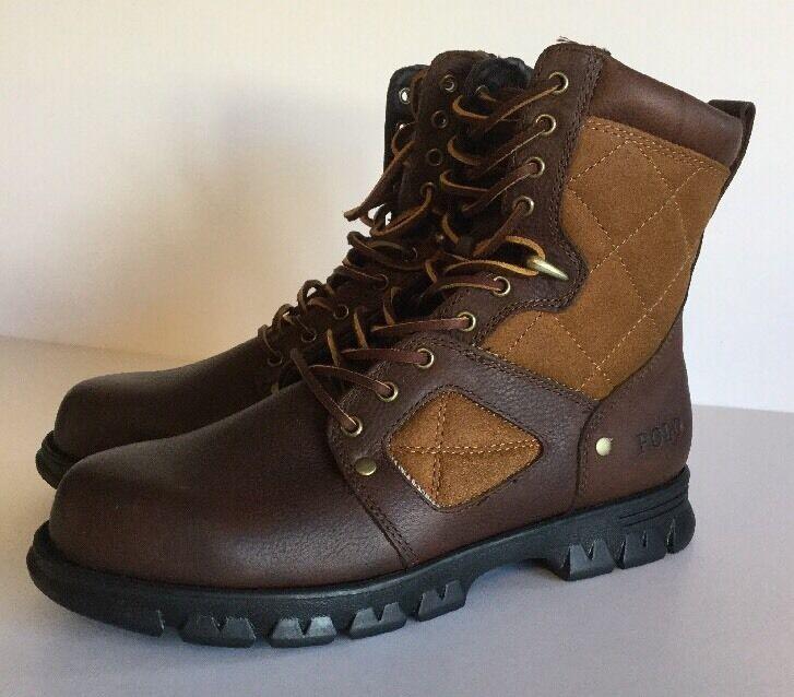 Ralph Lauren Polo Dennison Café Bronceado Cuero botas Nuevo con Caja de tamaño 8.5