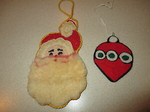 Details About Lot Of 2 Vintage Yarn Embroidered Christmas Ornaments Santa Face 6