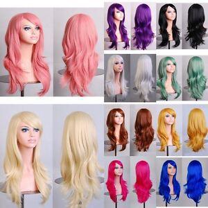 Mode-Cosplay-Perruque-Cheveux-Longue-Droite-Ondule-Boucles-Deguisement-Wig-Femme